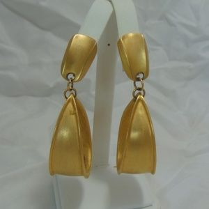 Vintage Gold Dangle Hoop Clip on Earrings